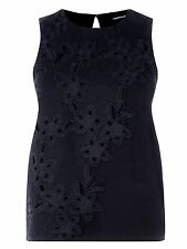 New Ladies Warehouse Black Floral Lace Placement Sleeveless Top 8 10 12 14 16