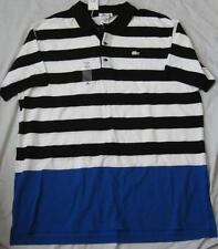 LACOSTE mens big tall striped s/s black blue white polo golf shirt alligator NEW