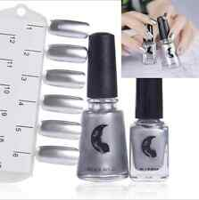 2x 12ml/6ml Silver Metallic Mirror Effect Nail Polish+1 Bottle Top Coat Adorable