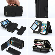 Luxury Removable Flip Zipper PU Wallet Case Purse Card Holder For Samsung iPhone
