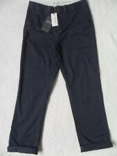 EX FAT FACE NAVY COTTON STRETCH TAPERED LEG MODERN CROPPED CHINO TROUSERS  8  16