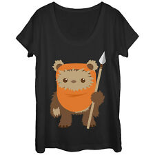 Star Wars Wicket Ewok Cartoon Womens Graphic Scoop Neck