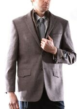 Prontomoda Europa, Men's Wool Cashmere Brown Sport Coat #J49512S-49516-BRO