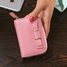 Women's Genuine Leather Ladies Bowknot Short Wallet Card Money Holder Case Purse