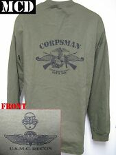 USMC RECON LONG SLEEVE T-SHIRT/ MCD/ FMF CORPSMAN/ NAVY/ MILITARY/  NEW