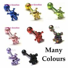 Tongue bar barbell 3D Anodized Titanium 14g 16mm pierced Body Jewellery SKULL*