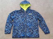 Under Armour Blue Gray Black Camo Print Full Zip Jacket Youth Large Excellent
