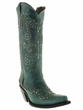 womens studded 13'' turquoise leather western cowgirl cowboy boots riding snip
