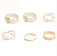 Womens Unique Punk Gold Plated Charm Cool  Rings Finger Jewelry 6 pcs 1 set
