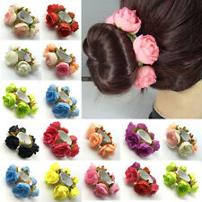New Flower Bun Garland Floral Head Knot Hair Top Scrunchie Band Elastic Bridal