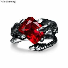 Top Quality 316L Stainless Steel Rings Claw Men Red Zircon Fashion Jewelry Punk