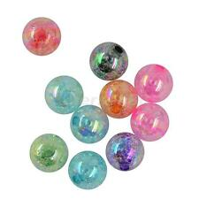 50/10PCS MIXED COLOURS ROUND BALL CRACKLED ACRYLIC BEAD JEWELRY MAKING DIY