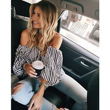 Sexy Womens Off Shoulder Lantern Sleeve Top Blouse Stripe Casual Loose T-Shirt