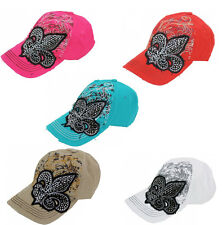 FLEUR DE LIS CRYSTAL SAINT BASEBALL CAP DISTRESSED CASTRO CADET HAT