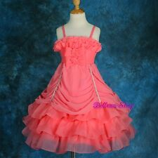 Chiffon Organza Tiered Dress Wedding Flower Girl Pageant Party Size 2T-8 FG186