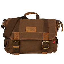 Fashion Men's Vintage Canvas Leather School Military Shoulder Bag Messenger Bag