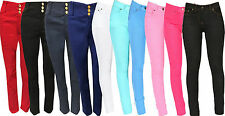 New Ladies Womens High Waisted jeggings Jeans 3 button Skinny Look Pants Denim