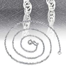 """Solid 925 Sterling Silver Singapore Twist Wave Chain Necklace Italy 16""""-18"""" TA"""