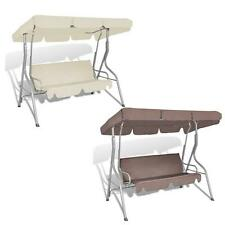 Cream/Coffee Garden Patio Swing Chair Seat Hammock Bench 3 Seater Canopy Shade