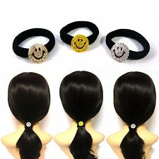 Small Mini Crystal Rhinestone Smiling Face Ponytail Holder Hair Tie Band Ring
