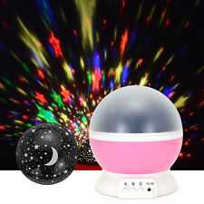 Rotating Sky Moon Star Children Sleeping Night Light Projector USB Romantic Lamp