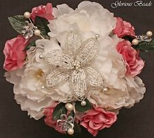 PINK Beaded Lily Flower Centerpiece with Peonies, Roses, Crystals  & Pearls