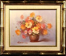 Exquisite ca.1970 Listed Artist Floral Bouquet Oil Painting w/Frame