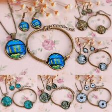 Retro Time Gem Pendant Earrings Bracelet Necklace Jewelry Set Chain Party Gifts