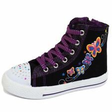 GIRLS KIDS CHILDRENS CANVAS ANKLE HI-TOP TRAINER BOOTS SHOES PUMPS SIZES 11-2