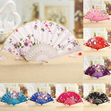 Chinese Women Lace Silk Flower Folding Fans Hand Held  Party Wedding Dance Fan