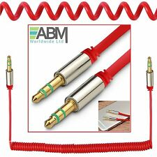3.5mm Coiled AUX Cable Mini Jack to Jack Male Audio Auxiliary Lead PC Car - Red