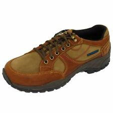 MENS BROWN LEATHER LACE-UP WATERPROOF WORK WALKING CASUAL SHOES SIZES 7-10