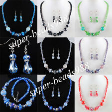 New Multicolor Glass Crystal Faceted Beads Necklace Earrings Jewelry Set SBM077