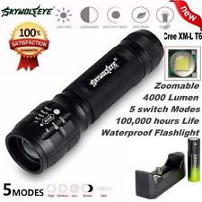 Zoomable 4000Lm CREE XM-L T6 LED Flashlight 5 Modes Torch Lamp+Battery+Charger
