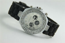 Geneva Fashion Women Ladies Crystal Dial Jelly Silicone Band Quartz Wrist Watch