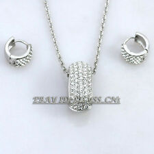 A1-S035 Fashion Huggie Earrings Necklace Jewelry Set 18KGP Rhinestone Crystal