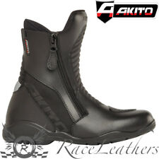 AKITO SCOUT SHORT BLACK WATERPROOF MOTORCYCLE MOTORBIKE BIKE SCOOTER BOOTS