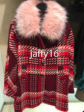 ZARA WOOL CHECK COAT PINK XS-XL REF. 7690/639