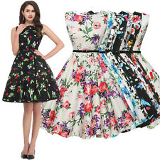 Vintage 50's Retro Pinup Housewife Prom Party Swing Dress Plus Size 1X 2X 3X 4X
