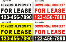 3ftX5ft Custom COMMERCIAL PROPERTY FOR LEASE Banner Sign with Your Phone Number
