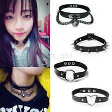 Punk Lady Gothic PU Leather Choker Heart Chain Ring Rivet Buckle Collar Necklace