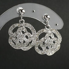 Fashion Rhinestone Flower Dangle Earrings Crystal 18KGP