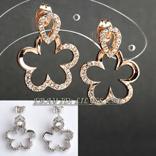 Rhinestone Glaze Flower Drop Dangle Earrings Crystal 18KGP