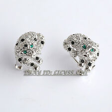 Rhinestone Leopard Leverback Earrings Crystal 18KGP