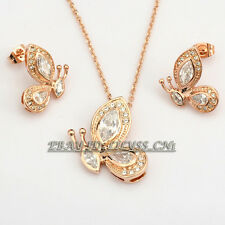 A1-S083 Fashion Rhinestone Butterfly Earrings Necklace Jewelry Set 18KGP Crystal
