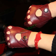 Womens Ladies Leather Half Finger Gym Cycling Sports Tactical Fingerless Gloves