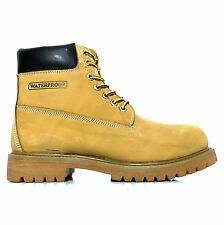 """FUDA Men's 6"""" Waterproof Plain Rounded Toe Construction Work Safety Boot Wheat"""