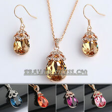 A1-S099 Fashion Simulated Gemstone Earring Necklace Jewelry Set 18KGP Crystal