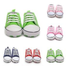 Baby Kids Toddler Soft Sole Crib Shoes Boy Girl Lace Canvas Non-Slip Shoes 0-18M