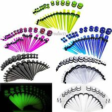 Acrylic Taper Plug Kit 14G-00G Double O-Rings Ear Gauges Ear Stretching Jewelry